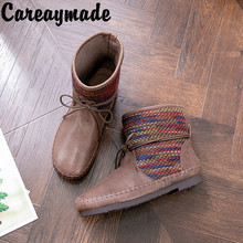 Careaymade-Genuine Leather short boots style retro leisure strap-on cowhide Martin handmade leather womens shoes