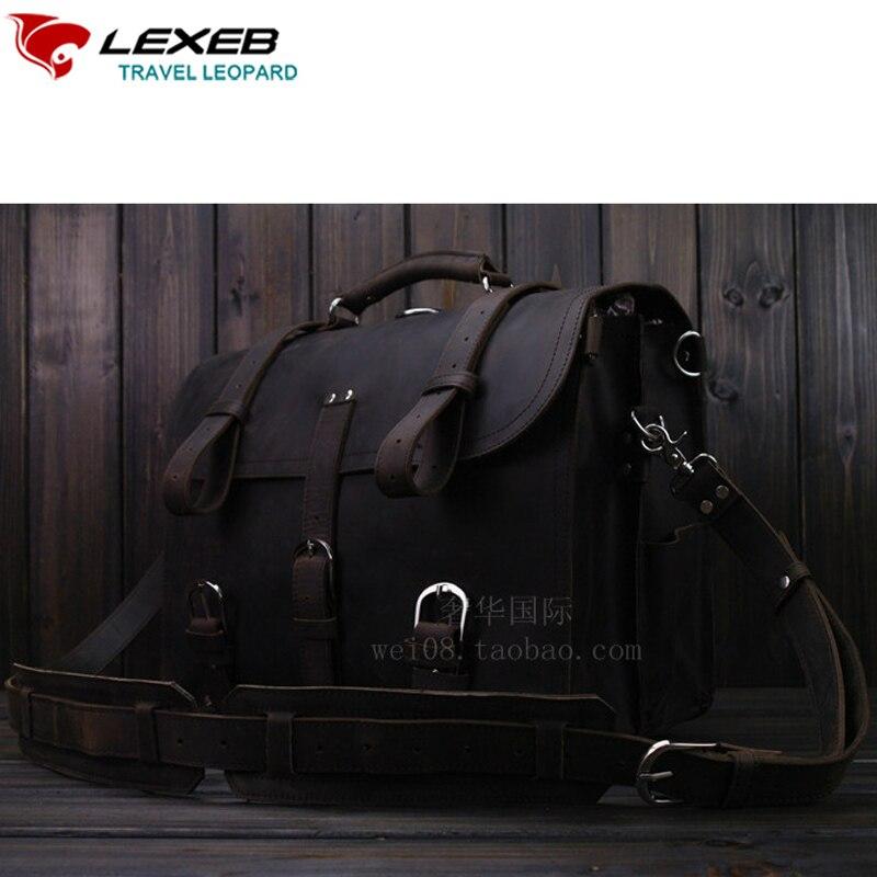 9ba42854166 LEXEB Lederen Laptoptas Dikke Top Laag Leer Bedrijfsaktentas Attache 17  Inch Laptop Tassen Hoge Kwaliteit In Dark in LEXEB Lederen Laptoptas Dikke  Top Laag ...