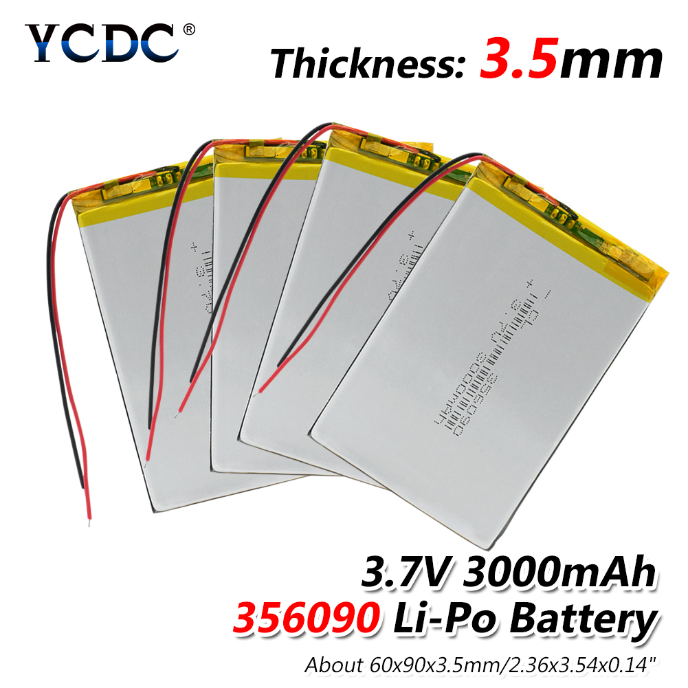 1/2/4pcs High Power 3500mAh 3.7V Volt Rechargeable Li Po Li-polymer 357095 Lithium Polymer 3500mAh E-book Tablet GPS Batteries portable mobile lithium polymer 3500mah lithium polymer power bank silver