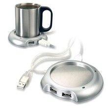 Calentador USB plateado cálido té y café calentador tipo taza USB calentador Pad con 4 puertos USB Hub con interruptor de encendido/apagado caliente
