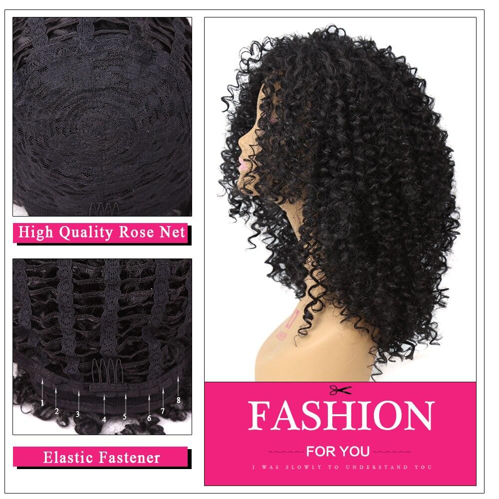 Amir Medium Long Afro Kinky Curly Syntetisk peruk för svarta kvinnor - Syntetiskt hår - Foto 6