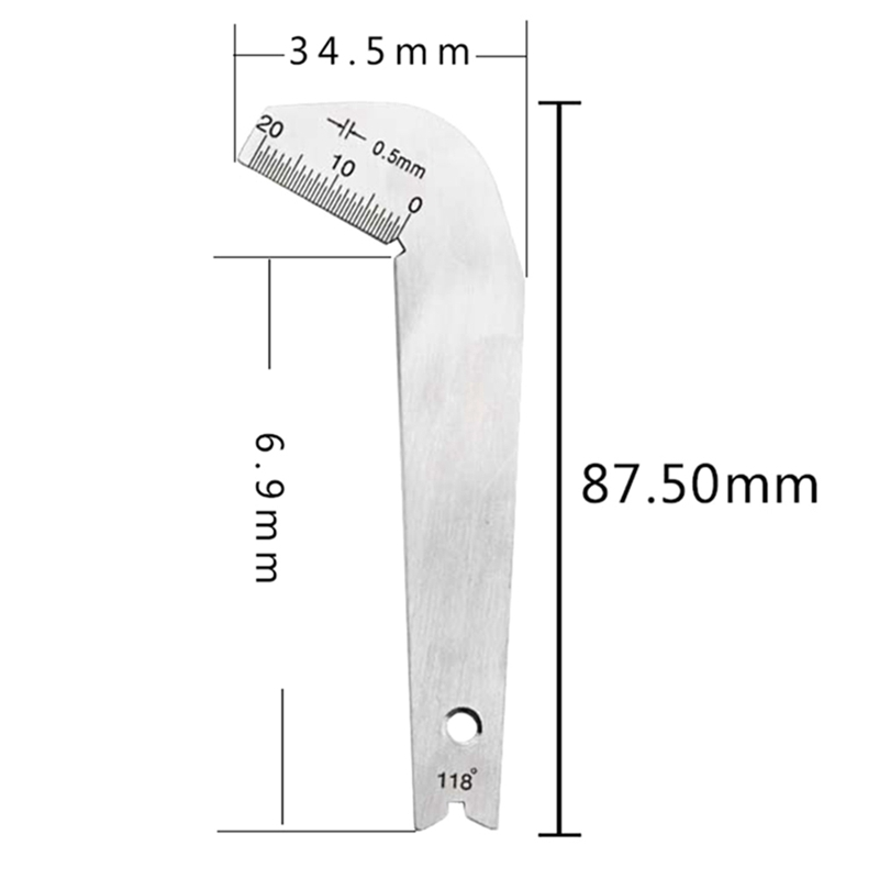 Drill bit Gauge Edge Dimension Gage 118° Drill Bit Sharpening Angle tool SS