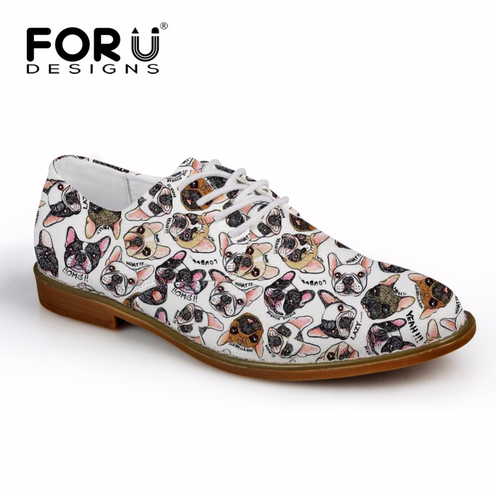 FORUDESIGNS Oxfords Shoes for Men Casual Brand Designer Cute Animal Pug Dog Flats Men's Leather Oxford Shoes Zapatos Hombre 2018 men cow split leather shoes casual loafers soft and comfortable oxfords non slip flats luxury brand designer shoe zapatos hombre