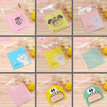 50 Uds. Bolsa de plástico de 7x7cm con dibujo de oso conejo Polka Dot, bolsas de embalaje para regalo, dulces, galletas, regalos, regalos de boda, regalos de cumpleaños