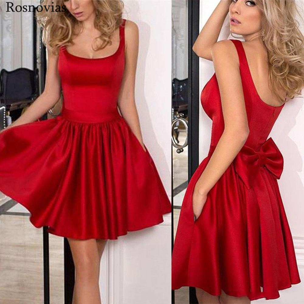 Red Short Graduation Dresses 2020 Scoop Sleeveless Backless Bow Prom Party Gowns Simple Cheap Mini Homecoming Dresses Customized