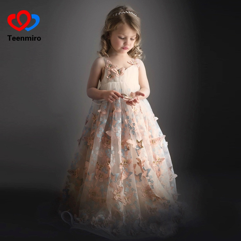 Fancy Tulle Girls Pageant Dress Butterfly Applique Pink Kids Sleeveless Evening Prom Party Gowns Communion Dresses Girl Clothing