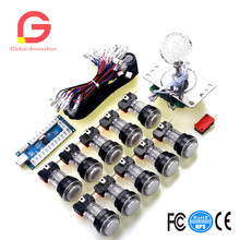 Arcade Game LED DIY Kits Parts :1x LED Style Joysticks & 10x LED Illuminated Push Buttons Wires & PC Encoder Board USB Cables 2 players diy arcade joystick kits with 20 led arcade buttons 2 joysticks 2 usb encoder kit cables arcade game parts set