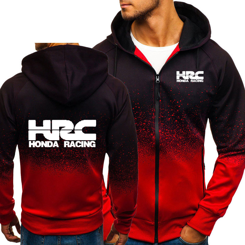 Hoodies Men HRC Race Motorcycle Car Logo Print HipHop Harajuku Gradient Color Hooded Sweatshirts Mens Zipper Jacket Man Clothing