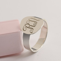 Custom 925 Solid Silver Monogram Rings 3 Initals Name Ring Silver Men Personalized Wedding Ring