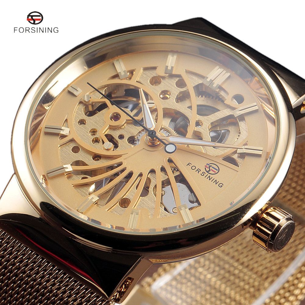 Fashion Stylish Top Luxury Brand FORSINING Skeleton Watches Men Stainless Steel Mesh Strap Band Mechanical Watch