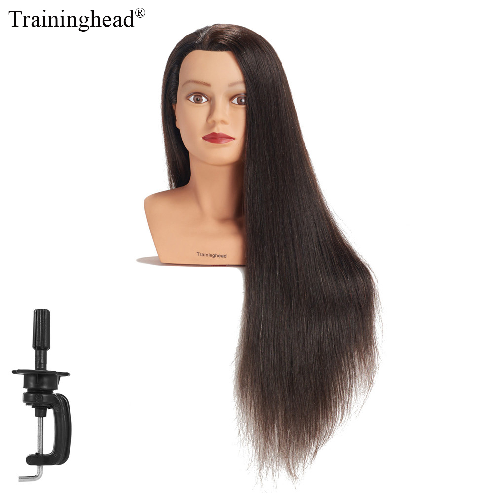 100% real human hair hairdresser cosmetology silicone practice training mannequin manikin head doll with mount hole Traininghead 28-30Mannequin Head 100% Human Hair Hairdresser Training Head Manikin Cosmetology Doll Head(Clamp Stand Included)