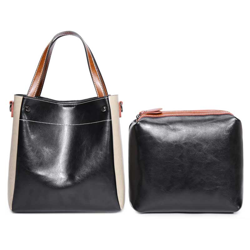 38903ac5b9 2018 AMONCHY Brand Handbags Women Genuine Leather Shoulder Bags Fashion  Panelled Lady Messenger Bag Cowhide Handle Composite Bag-in Shoulder Bags  from ...