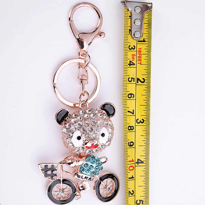 LLavero de oso lindo Sitaicery llavero de cristal pompón de moda en una mochila colgante llavero de Marvel accesorios para mujer