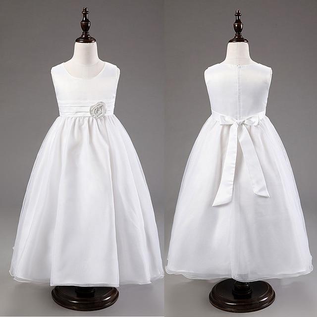 344c5fc4de0ef Enfants vêtements D été blanc filles de mariage robe longue partie robes  fleur petite fille