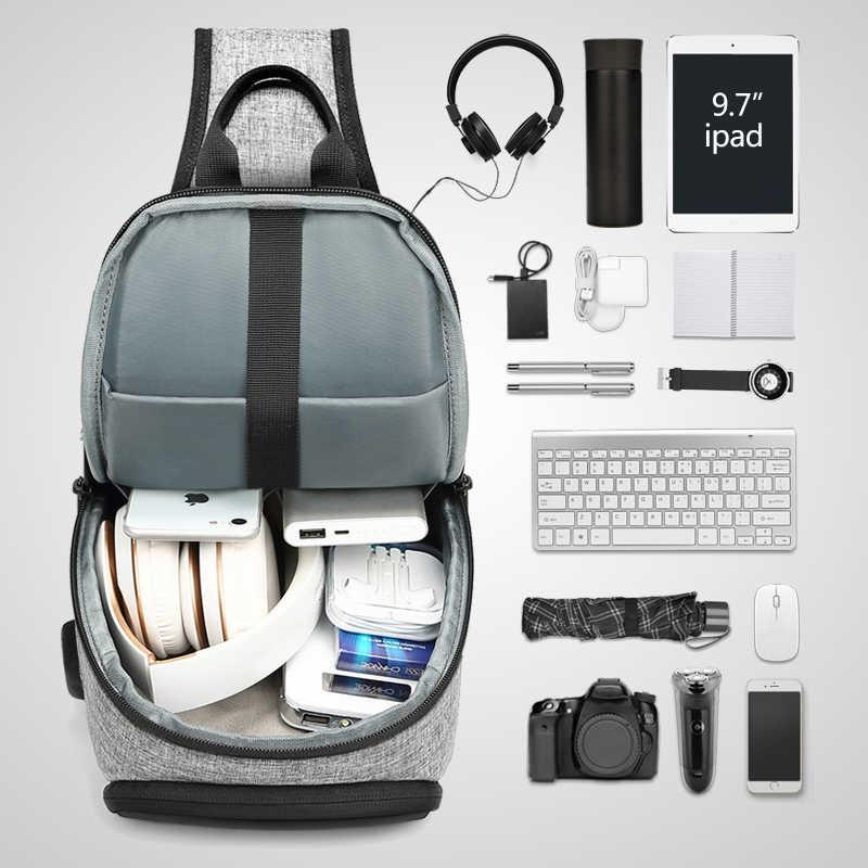 EURCOOL bolso bandolera Casual para hombre 9,7 pulgadas bolso de mensajero para iPad con puerto de carga USB Paquete de pecho macho n1907