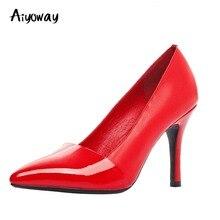Ladies Party Pointed Toe High Heels PU Pumps Aiyoway Elegant Women Shoes Autumn Spring Work Career Footwear Black Red Slip-On