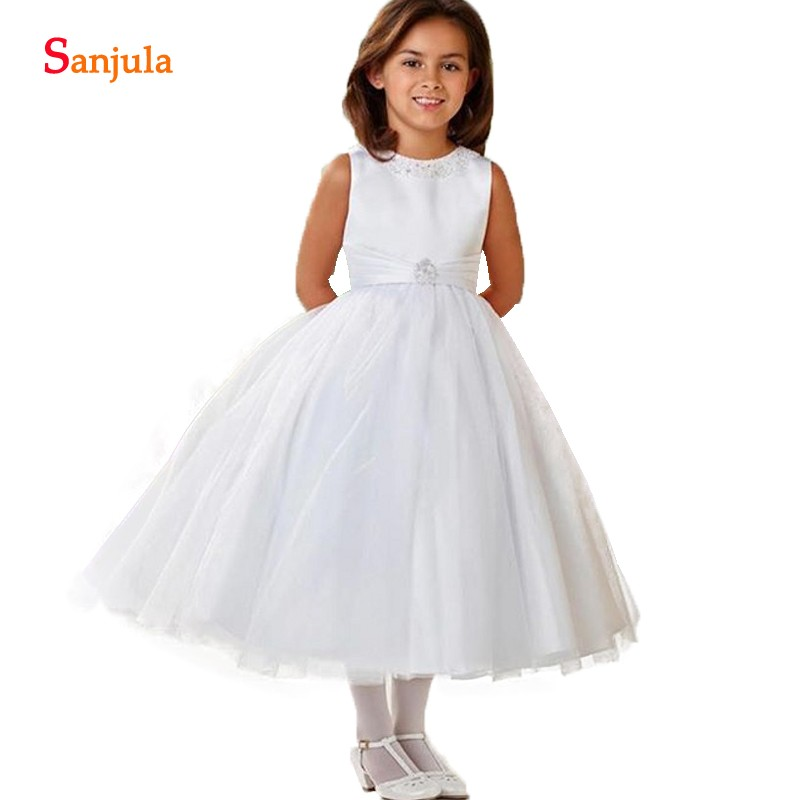Beaded O-neck Children Wedding Party   Dresses   Ball Gown Tea Length   Flower     Girl     Dress   2018 New vestido flores SF006