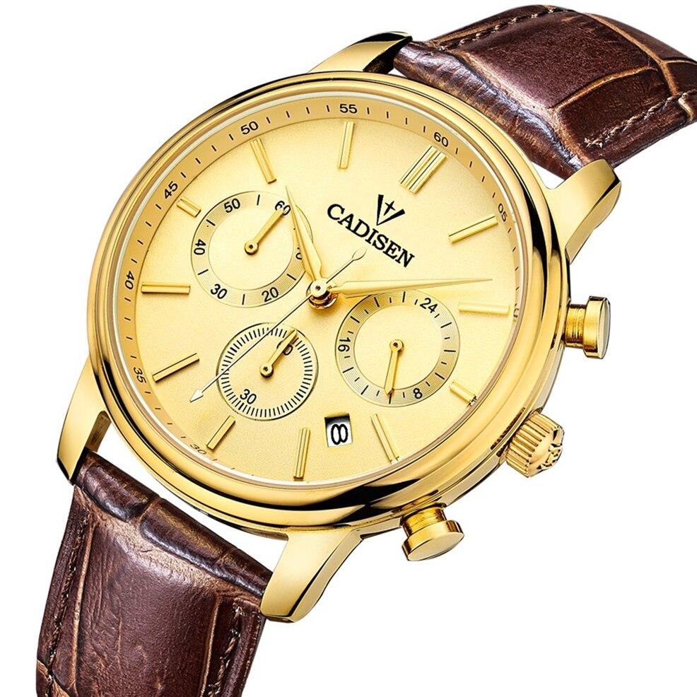 CADISEN Top Men Watches Luxury Brand Men s Quartz Hour Analog Chronograph Sports Watch Men gold