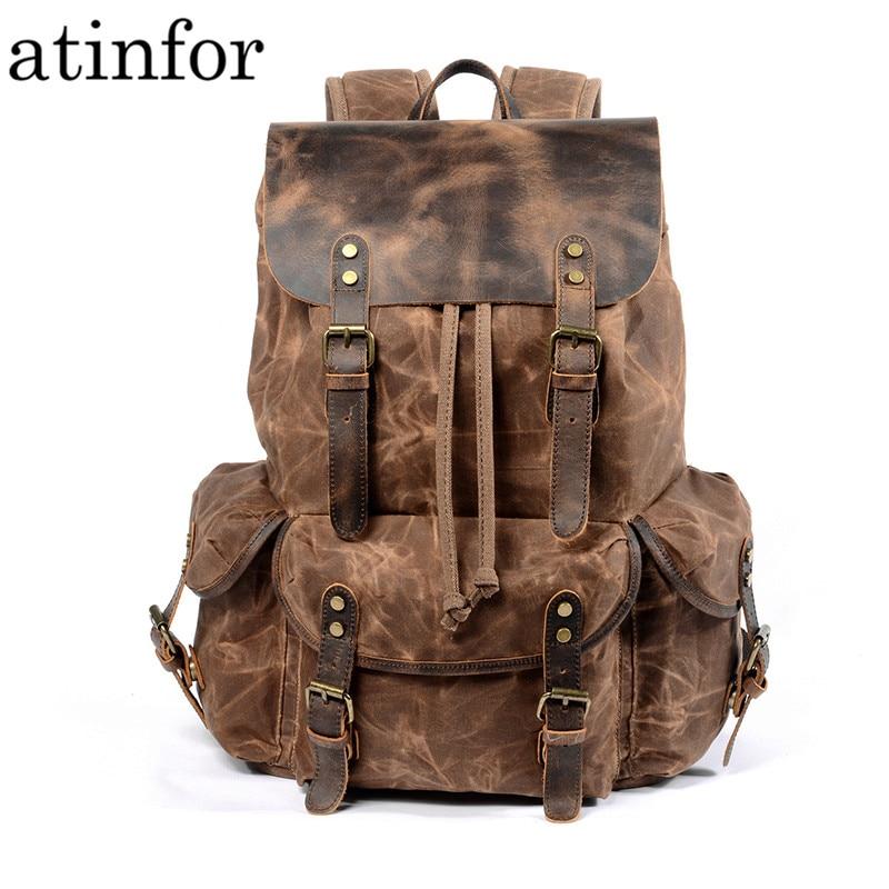 Toile imperméable à l'huile de cire et sac à dos en cuir véritable hommes voyage Vintage sac à dos à cordon grande capacité chaîne pochette d'ordinateur - 1