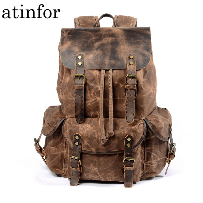 Waterproof Oil Wax Canvas And Genuine Leather Backpack Men Travel Vintage Drawstring Rucksack Large Capacity String Laptop Bag