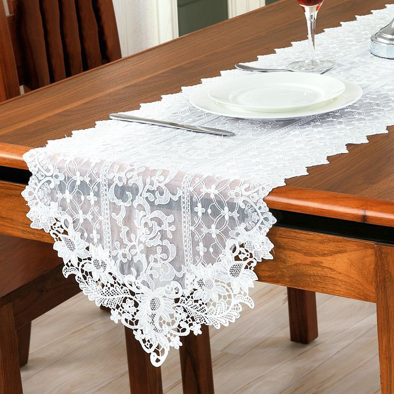 Elegant European Style Table Runner Stereo Embroidery Flower Lace Table Runners Wedding Party Home Decor