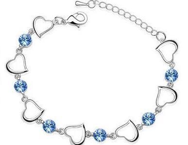 Браслеты с одним сердцем, высокое качество, циркониевые амулеты, популярные модные ювелирные изделия, Прямая поставка, подарок на день рождения, вечерние, австрийские кристаллы - Окраска металла: Light blue