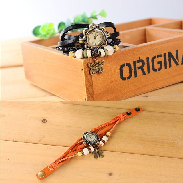 2019 Fashion Women Watches Korean Style Vintage Wooden Beads Butterfly Watch Leather Ropes relogio feminino Ladies Watch Women 4