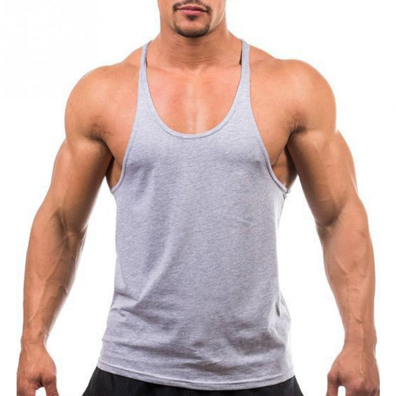 2019 New Summer Men's   Tank     Top   Sleeveless   Top   Vest Muscle Gym Fitness Bodybuilding Sleeveless Solid Color Slim Vest Male   Top