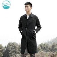 LinenAll мужская одежда траншеи мужчина осень 100% чистого хлопка ватник мужские свободные случайные длинные пальто мужчины китайский стиль QF