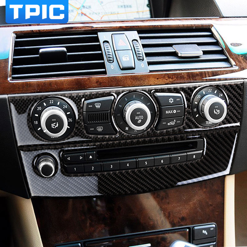 Carbon Fiber Interior Trim Air conditioning CD Control Panel Car Styling Stickers For BMW e60 5