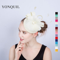 16 Colors Women Party Chic Lady Fascinator Brand Hats Headpiece Bridal Feather Flower Pillbox Hats Wedding