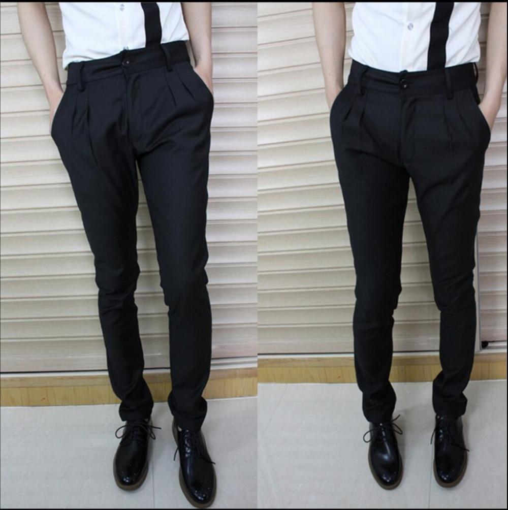 New Men Suit Pants Ankle Tight Length Trousers Right Zhi-long Black Slim Casual Harem Pants Singer Costumes Autumn 28-44