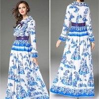Vestido de verano 2018 azul moda cuello redondo Vestido de manga larga delgada Cuerpo Femenino sexy party vestido largo vestidos vestido