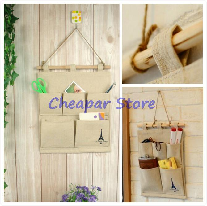 delicate hot home use pastoral style cotton tower storage bag 5 pocket wall hanging bags multi