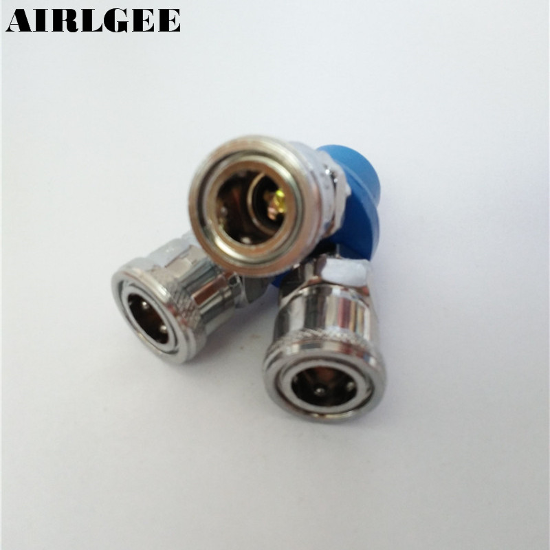 1/4PT Female Thread 3 Way Air Compressor Quick Connector Coupling Air Hose Coupler Tool air compressor o ring 1 2pt thread oil level sight glass