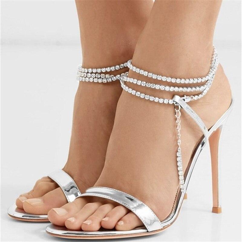 Été Bling Bling femmes gladiateur sandales marque Design à bretelles talons hauts dame chaussures femme cheville Wrap pompes strass sandales