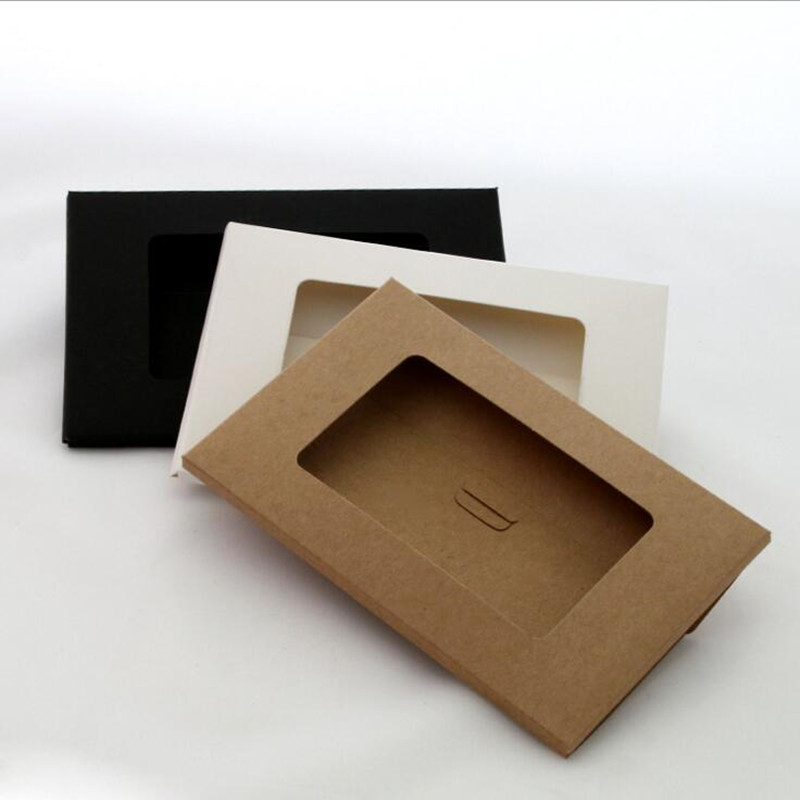 50PCS/lot Vintage Hollow Design Black / White / Brown Kraft Paper Envelope Postcard Boxes Greeting Photo Post Card Package Bag