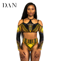 DANENJOY Sexy Triangle Bikini Sets Women Long Sleeve High Waist Thong Swimwear African Print Biquini Hollow