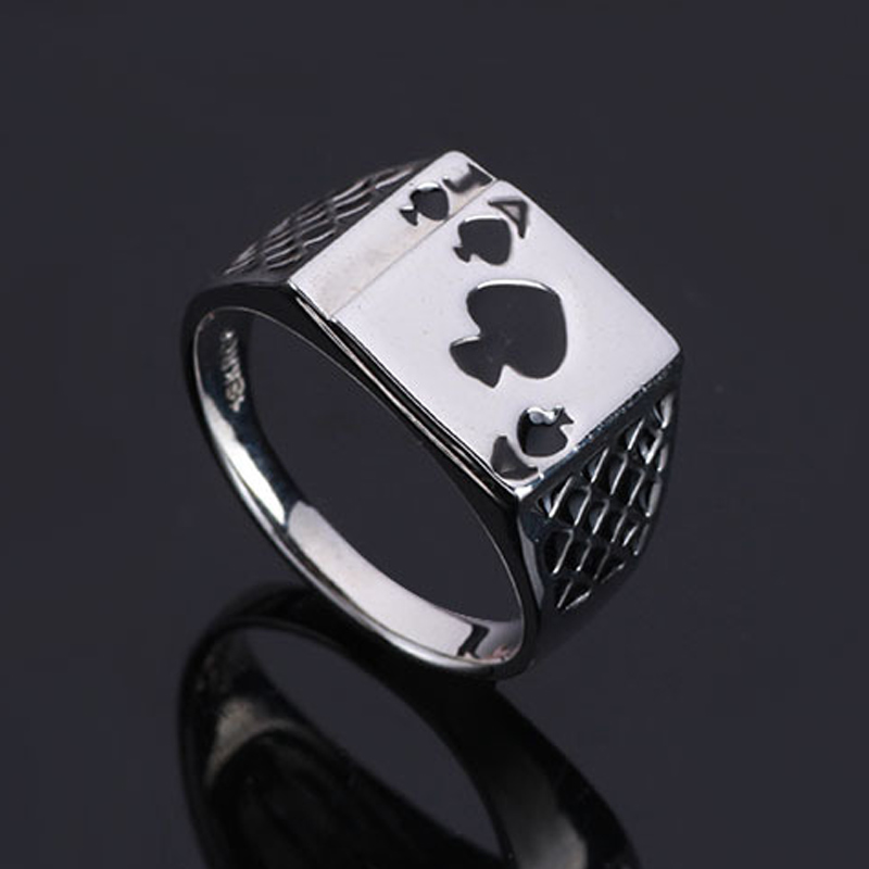 Chunky Alloy Enamel Spades Poker Ring Men A J Fashion Rings Cool Men Fine Jewelry Gift C655