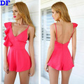 Rose Jumpsuit Sexy Macacao Feminino 2016 Fashion Ruffles Overalls Rompers Womens Jumpsuit Backless Monos For women Jumpsuits XL