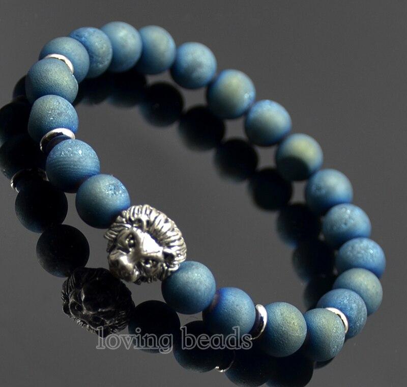 Fashion Men's Bracelet 8mm Natural Matte Druzy Green Gems Stone Silver Plated Lion Head Stretch Charm Beads 7.5 Craft