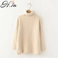 H.SA Thick High Neck Sweater Women Winter Solid Warm Pullovers Side Vent Slit Loose Jumper Female Oversize Turtleneck Sweater
