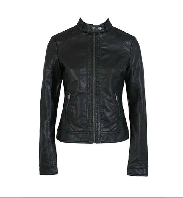 2d68889934562 Fashion pimkie Women Motorcycle Leather Jacket Coat XS-XXXL 7 Size Short  Paragraph water wash