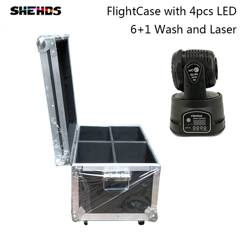 FlightCase with 2/4/6/8pcs Wash and Green Laser Moving Head 13/16CH Dj Disco LED RGBW DMX 512 auto run Stage Lighting Party Club