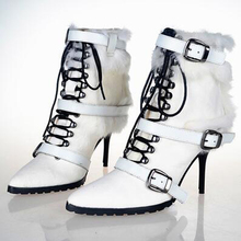 Top Quality Autumn and Winter Horsehair Buckle Ankle Boots Women Shoes Pointed Toe Botines Sexy High Heels Warm Snow Botas Mujer