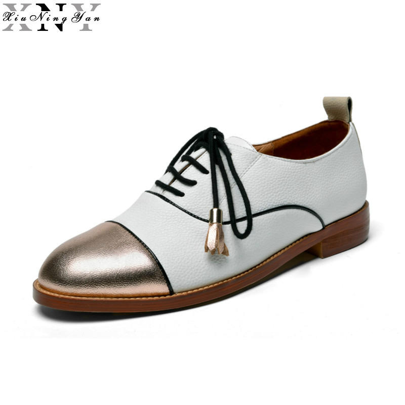 XiuNingYan 2017 Genuine Leather Shoes Women Brogues Oxfords Flat Heels Round Toe Handmade Woman Casual Flats Shoes British Style qmn women crystal embellished natural suede brogue shoes women square toe platform oxfords shoes woman genuine leather flats