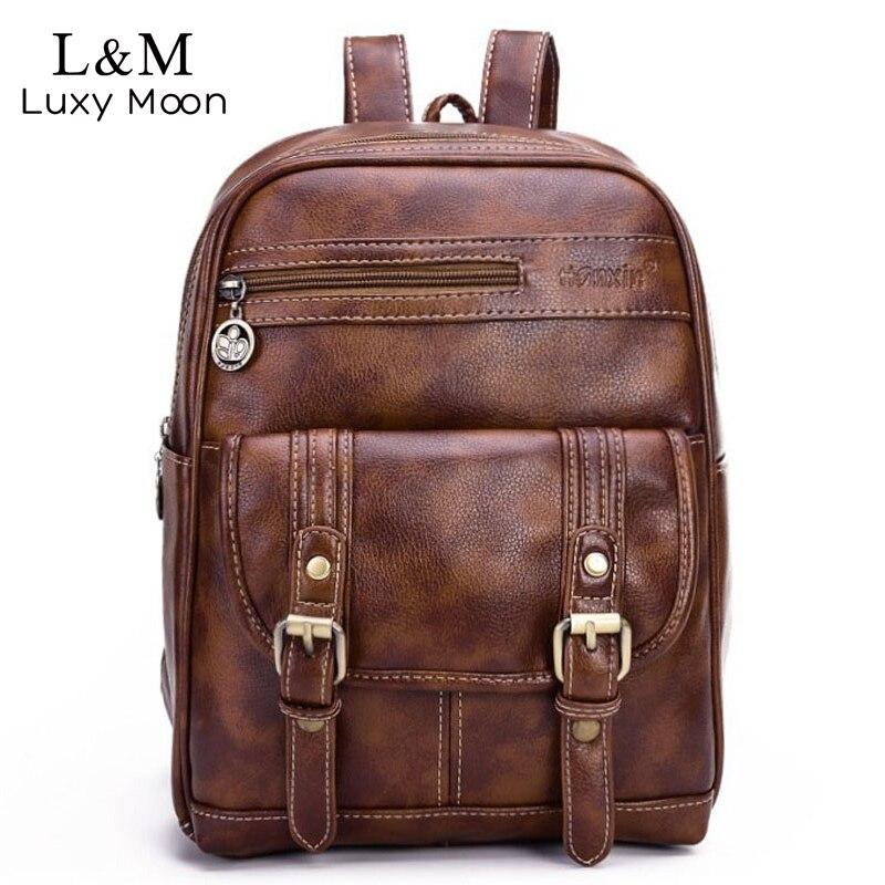Vintage Women Leather Backpack Fashion Large Black Rucksack Teenage Girls Brown Backpacks Shoulder School Bags Mochila XA468H