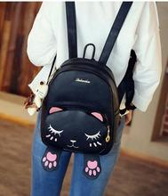 Korean style autumn new collection cat embroidery backpack cute cartoon shoulder bag preppy fashion student school