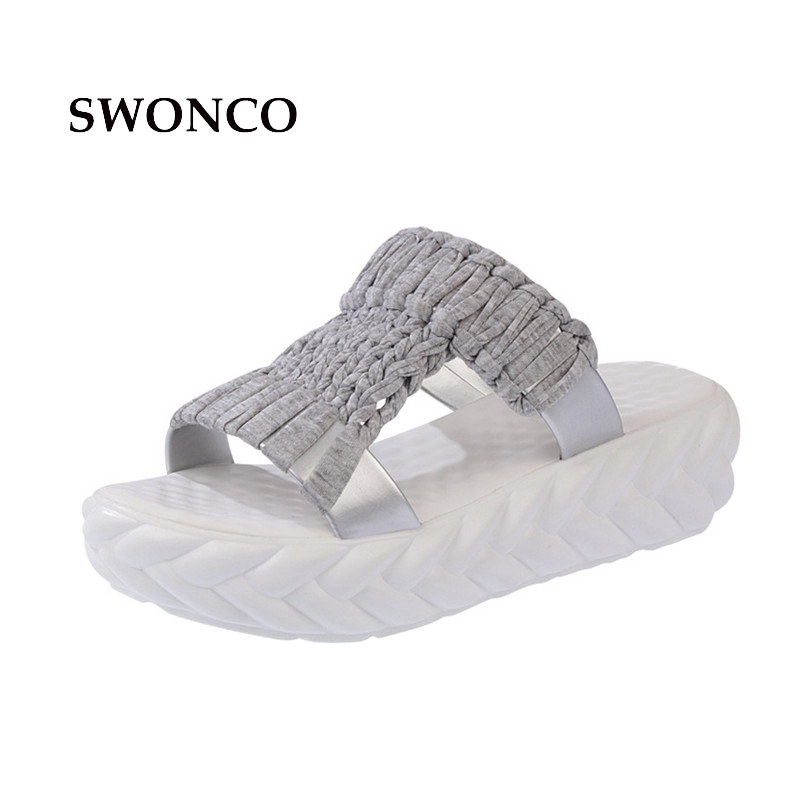 SWONCO Women's Slippers Gladiator Sandals 2018 Summer 5cm High Heels Women Shoes Woman Slippers Summer Sandals Casual Shoes phyanic 2017 gladiator sandals gold silver shoes woman summer platform wedges glitters creepers casual women shoes phy3323