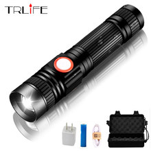 LED Flashlight 8000 Lumens T6 Ultra Bright Zoomable Tactical Flashlights LED Torch USB Charging for Camping Fishing Riding